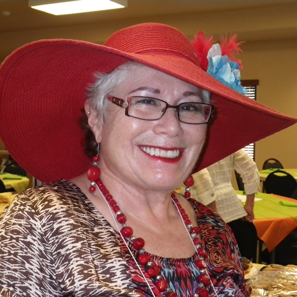Barbara Brahm in a fabulous red hat!